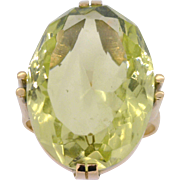 Lime Green Quartz Ring in 14K yellow gold