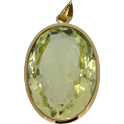 Lime Green Quartz Pendant in 14K Yellow Gold