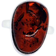 Sterling Silver and Amber Cabochon Ring