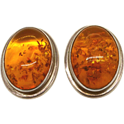 Vintage Amber and Sterling silver Clip back Earrings