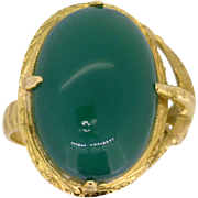 REDUCED Vintage Jadeite Jade and 18K yellow gold Talon Ring