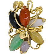 REDUCED Vintage multi-color Jade and Gold Ring