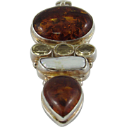 LARGE Sterling silver Pendant with Amber, Green Quartz and Freshwater Pearl