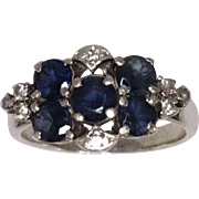 REDUCED Vintage Sapphire and Diamond Cluster Ring