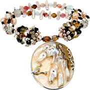 Shell Pendant Necklace with Freshwater Pearls, Keshi Pearls, Quartz Nuggets, and Garnet Beads