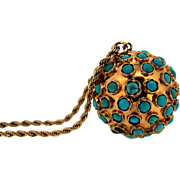 Vintage 18k yellow Gold ball Pendant Studded with Turquoise