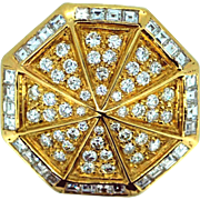 Vintage 18k Yellow Gold and Diamond Octagon Brooch