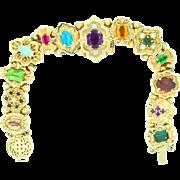 Victorian Style Retro Slide Bracelet in 14K gold and gemstones