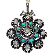 Victorian Silver on Gold 1ct Rose Cut Diamond Turquoise Flower Pendant