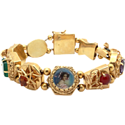 Vintage 14k Yellow Gold Multi Stone Portrait Turquoise Coral Slide Charm Bracelet 6.5 inches