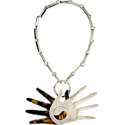 William Spratling Sterling Silver Shell Crossed Hands Necklace 1951