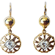 Beautiful  Round Cut Diamond Dangle Earrings set in 18 Karat Rose Gold, Circa 1940
