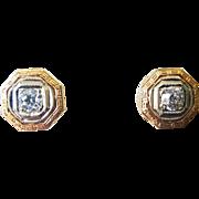 Elegant 14 Karat White and Yellow Gold Diamond Earrings, Circa 1880