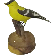 Folk Art Carved And Painted Goldfinch