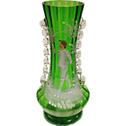 Victorian Blown Glass Vase Decorated With The Figure Of A Boy