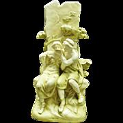 Austrian Art Nouveau Porcelain Figure Group With Vase