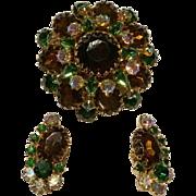 Vintage Ledo Polcini Signed Topaz, Green, AB Rhinestone Brooch Earrings Set
