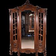 Louis XV Rococo Style Antique French Armoire Wardrobe Walnut Bookcase in Walnut