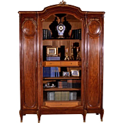 Louis XVI Style Antique French Mahogany and Bronze Bookcase Display Cabinet