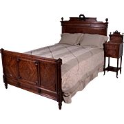 1800's Antique French Louis XVI Style Queen Size Bed & Nightstand in Mahogany