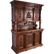 Antique French Gothic Revival Style Sideboard/Buffet in Solid Walnut w/Griffin