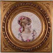 Portrait Painting of a Parisian Woman in Gilt Frame Georges Becker (1845-1909)
