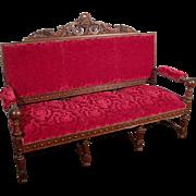 French Renaissance Revival Style Upholstered Settee Henri II Wood Framed Sofa