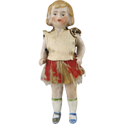 """All Bisque Tiny German Doll in Original Clothing 2 1/2"""""""