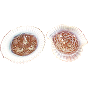 Two Early 19th Century NORTHWOOD Ruffled Edge Opalescent White Glass Decorative Candy Dishes