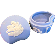 Vintage 1973 Wedgewood England Blue Jasperware Chariot, Cherub Covered Trinket Box