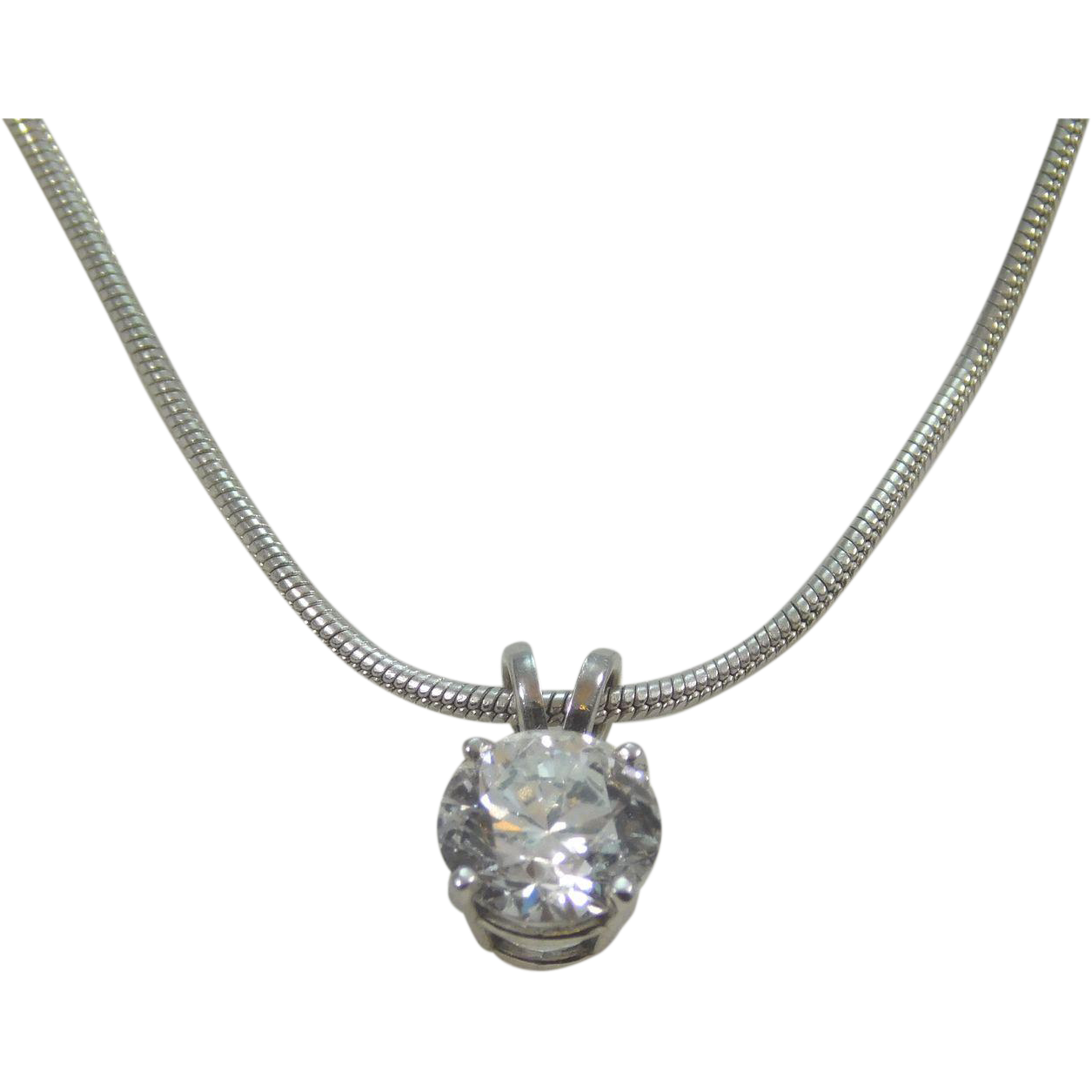 14 karat white gold 1 25ct necklace pendant