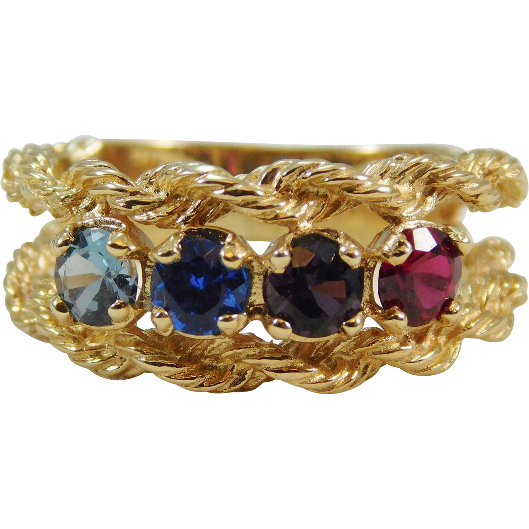 14 karat yellow gold rope ring w colored stones