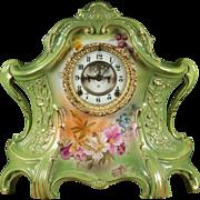 Ansonia Porcelain Mantle Clock La Layon from Bonn, Germany