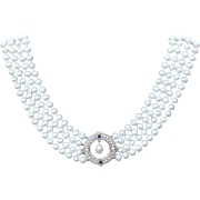 Pearl Drop Sapphire and Diamond Filigree Necklace