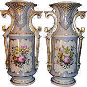 Beautiful pair of French vase, porcelain old Paris 19th (1860) hand painted