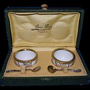 Pair of vintage  open salt cellar, Limoges porcelain ,with 2 sterling silver spoons salt  ...