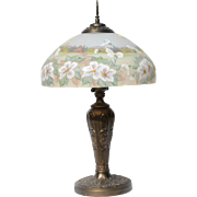 REDUCED Vintage Bronze-Tone Lamp with Signed Hand-Painted Fenton Glass Shade