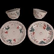 Antique Early Kangxi Edo Porcelain Bowls And Saucers Rare !
