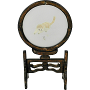 Chinese Silk Embroidered Cat Framed On A Rosewood Stand