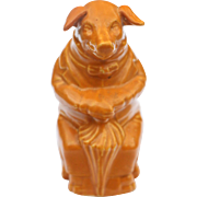 Brownish-Orange Pig Majolica Bank