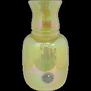 SALE Vintage Cambridge USA Hand Blown Yellow Glass Lusterware Round Vase