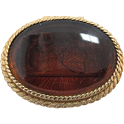 SALE Vintage Corday Solid Perfume - Amber Etched Top in Brass Encasement