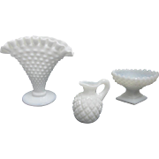 SALE Vintage Set of 3 Fenton Hobnail Milk Glass: Miniature Pitcher, Serving Bowl, & Vase