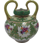 SALE Vintage Nippon Blue Marked Hand Painted Floral Vase with Upward Handles