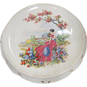 SALE Vintage Falcon Ware Round Porcelain Hand Painted Tray Lady with Flowers