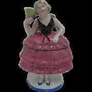 SALE Vintage German Lady Trinket Dish Showing Black Bodice & Pink Skirt