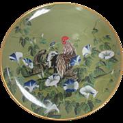 "SALE Vintage Franklin Mint Porcelain ""Chicken in Blue Flowers"" Collector Plate Japan"