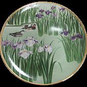 SALE Vintage Franklin Mint Porcelain 'Ducks in Pond Purple Lilies' Collector Plate Japan