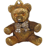 SALE Vintage Max Factor Solid Perfume Teddy Bear with Rhinestones and Bow