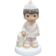 """SALE Vintage Enesco Precious Moments Porcelain """"Bless Those Who Serve Their Country"""""""